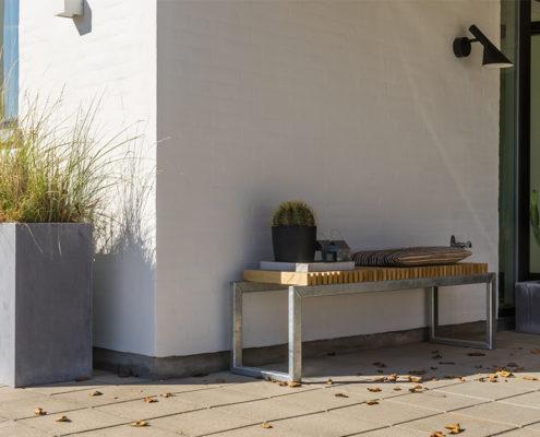 havebænk vestkyst bænk gedebjerg design hårdttræ galvaniseret
