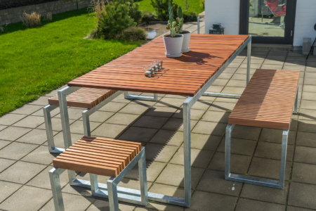 bord havebord design gedebjerg galvaniseret stål hårdttræ